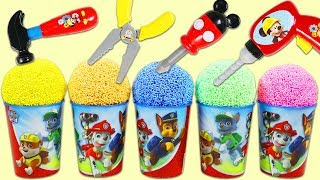 PAW PATROL Play Foam Surprise Cups Opening with Mickey Mouse Tools!
