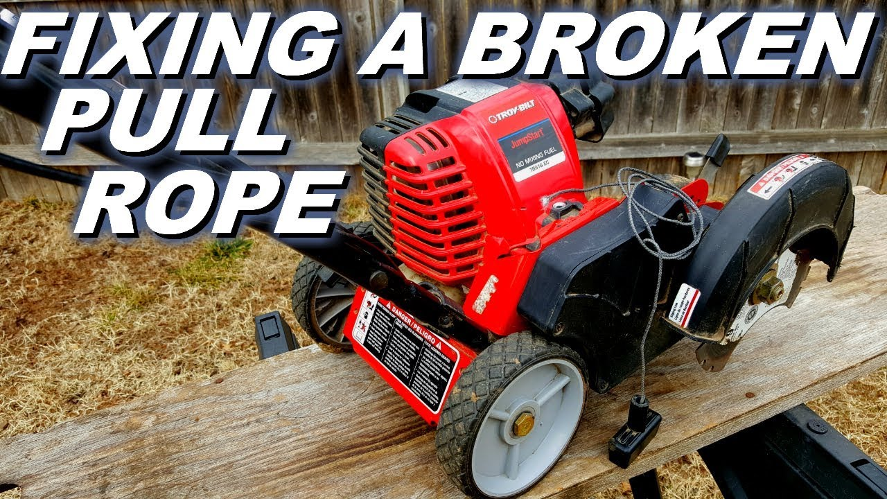 Broken pull rope fix on Troy Bilt edger
