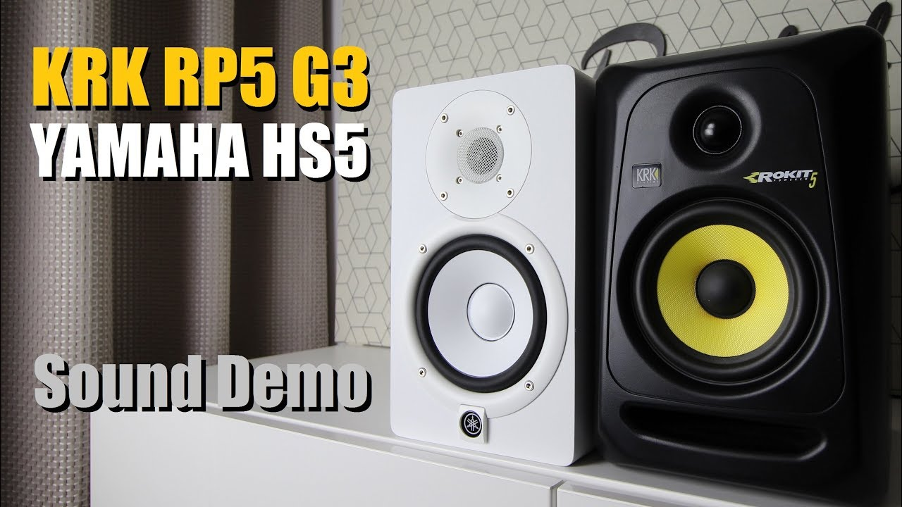 Krk rokit 5 rp5g3 vs yamaha hs5 sound demo w bass test for Yamaha hs5 no bass
