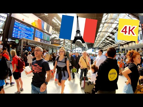 ⁴ᴷ Paris morning walk 🇫🇷 People are going on holiday 🏖️, at train station Gare de Lyon, France 4K