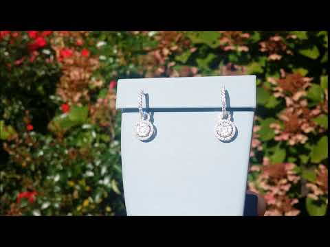 Simon G.  Halo Dangle Drop Diamond Earrings Style ME1507