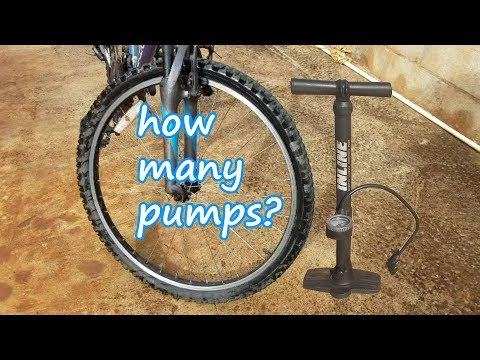 """How many pumps to inflate Flat 26"""" Bicycle Tire from 0 to 60 PSI"""