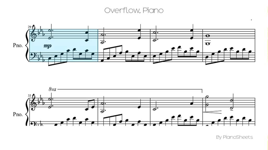 All Music Chords runaway sheet music : Overflow [Piano Solo] - YouTube