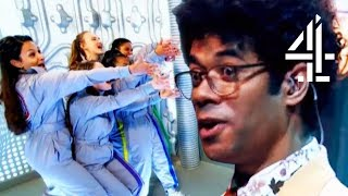 Richard Ayoade Cannot Deal With Incredibly Upbeat Cheerleaders #TeamRichard | The Crystal Maze