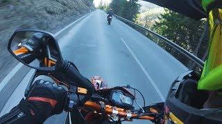SUPERMOTO RACING THE ALPS // KTM 690 VS HUSQVARNA 701
