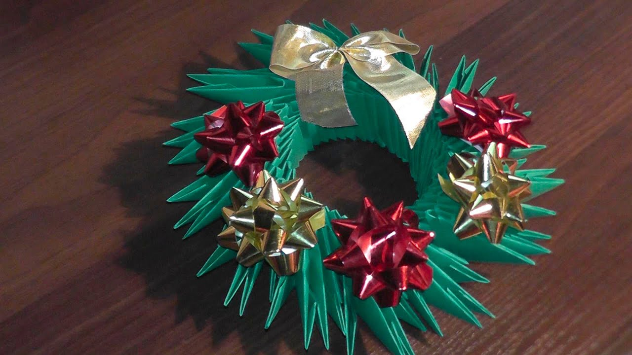 3D origami Christmas wreath tutorial - YouTube
