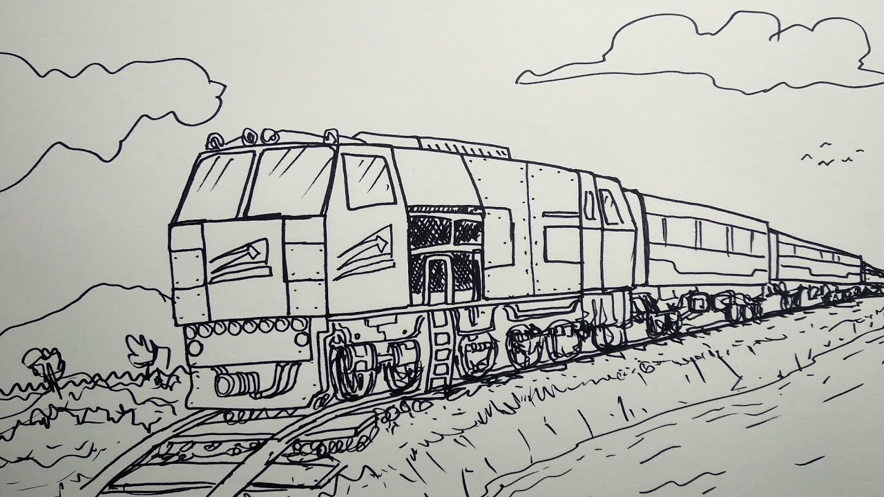 Gambar Kereta Api Untuk Mewarnai Kereeeen Menggambar Kereta Api Dari Kata Sepur Youtube