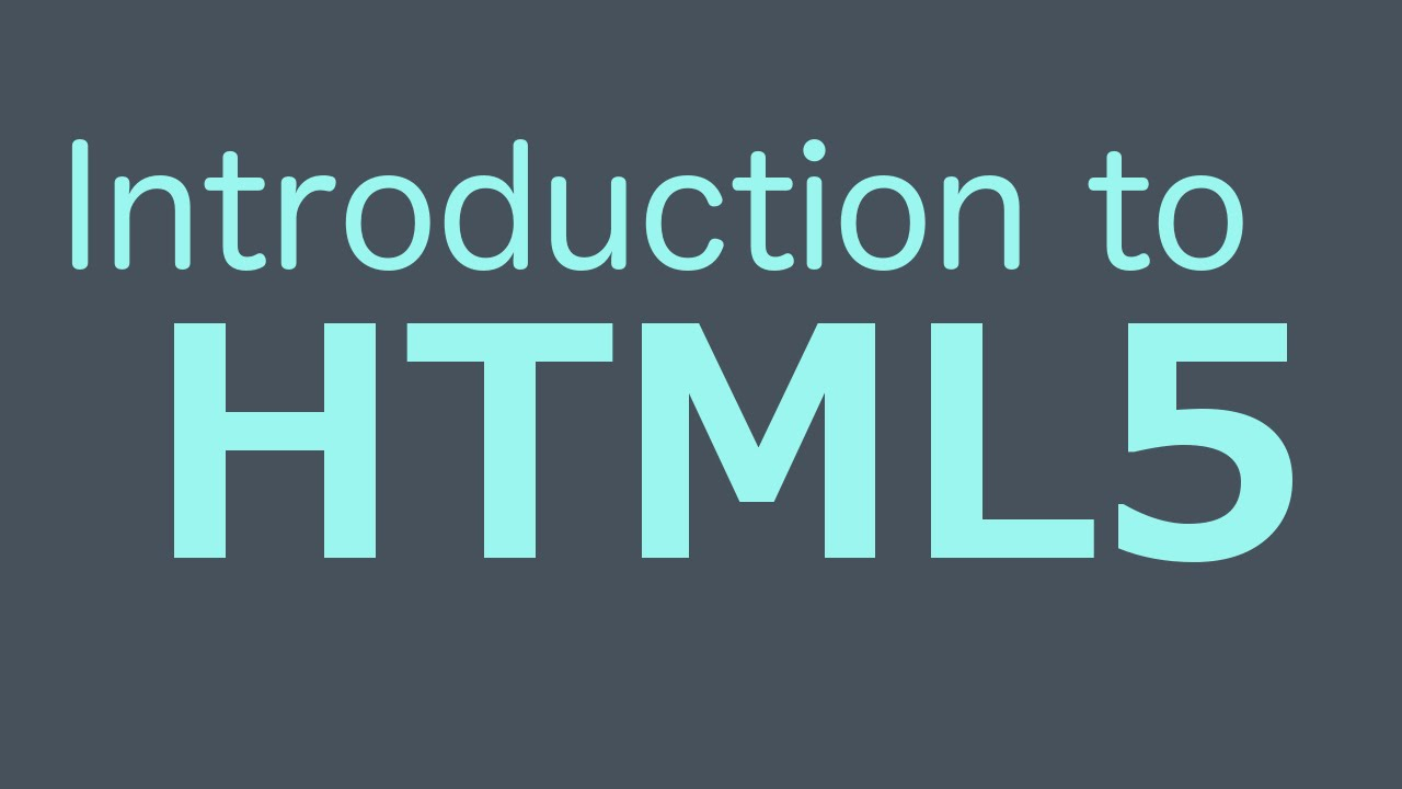 Introduction To HTML5 HTML Programming Tutorial YouTube