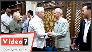 حسن شحاتة وشطة وطولان وجمال عبد الحميد فى عزاء شقيقة محمود أبو رجيلة