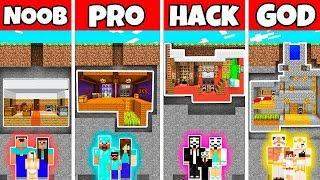 Minecraft: UNDERGROUND BUNKER HOUSE BUILD CHALLENGE - NOOB vs PRO vs HACKER vs GOD in Miencraft