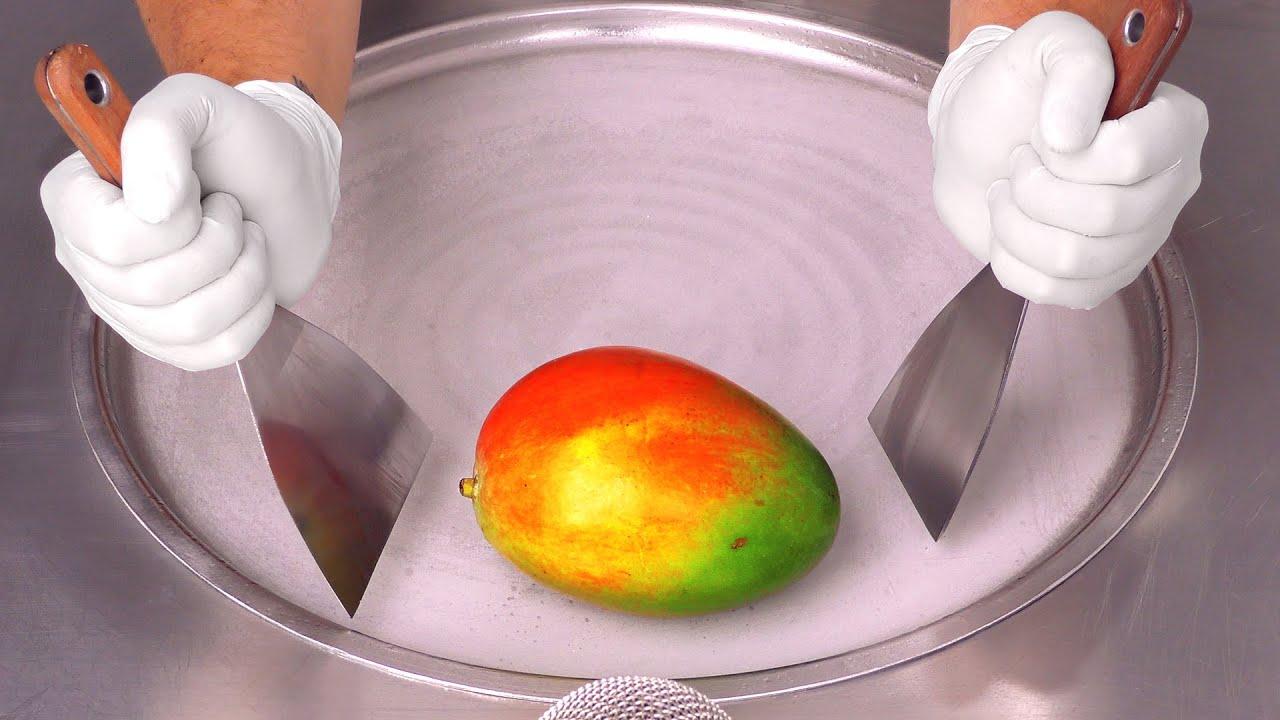 Mango - Ice Cream Rolls | oddly satisfying Street Food ASMR