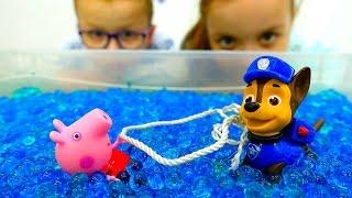 Щенячий Патруль и Свинка Пеппа - Детское видео с игрушками