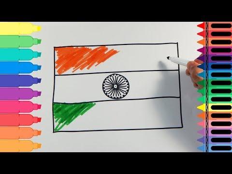 কিভাবে আঁকা ভারত পতাকা - অঙ্কন ভারতের পতাকা - শিশুদের জন্য আর্ট রং   Tanimated খেলনা thumbnail