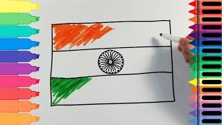 How to Draw India Flag - Drawing the Indian Flag - Art Colors for Kids | Tanimated Toys