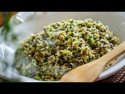 Arroz com lentilhas e alho-poró