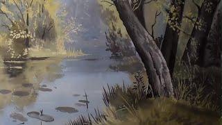 Рисуем пейзаж с озером гуашью поэтапно. Как нарисовать пейзаж гуашью