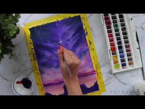 Cú đêm| Hướng dẫn vẽ tranh bằng màu nước 1.