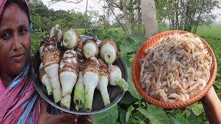 Awesome Cooking Kochu Muka Chingri Vaji Recipe FARM FRESH Taro Root & Shrimp Fry Curry Village Food