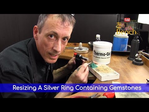 Resizing A Silver Ring Containing Gemstones - Using Thermo Gel  - Jewelry Repairs