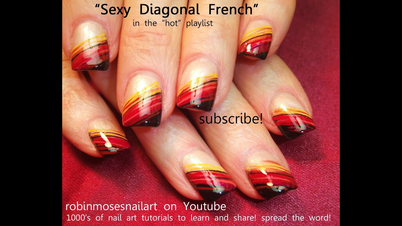 Easy Fall Nail Art for Beginners!!! | Diagonal Nail Art Design ...