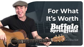 For What It's Worth - Buffalo Springfield - Easy Beginner Song Guitar Lesson Tutorial (BS-122)