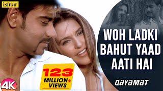 Woh Ladki Bahut Yaad Aati Hai - 4K Video | Ajay Devgan & Neha Dhupia | Qayamat | 90's Hits