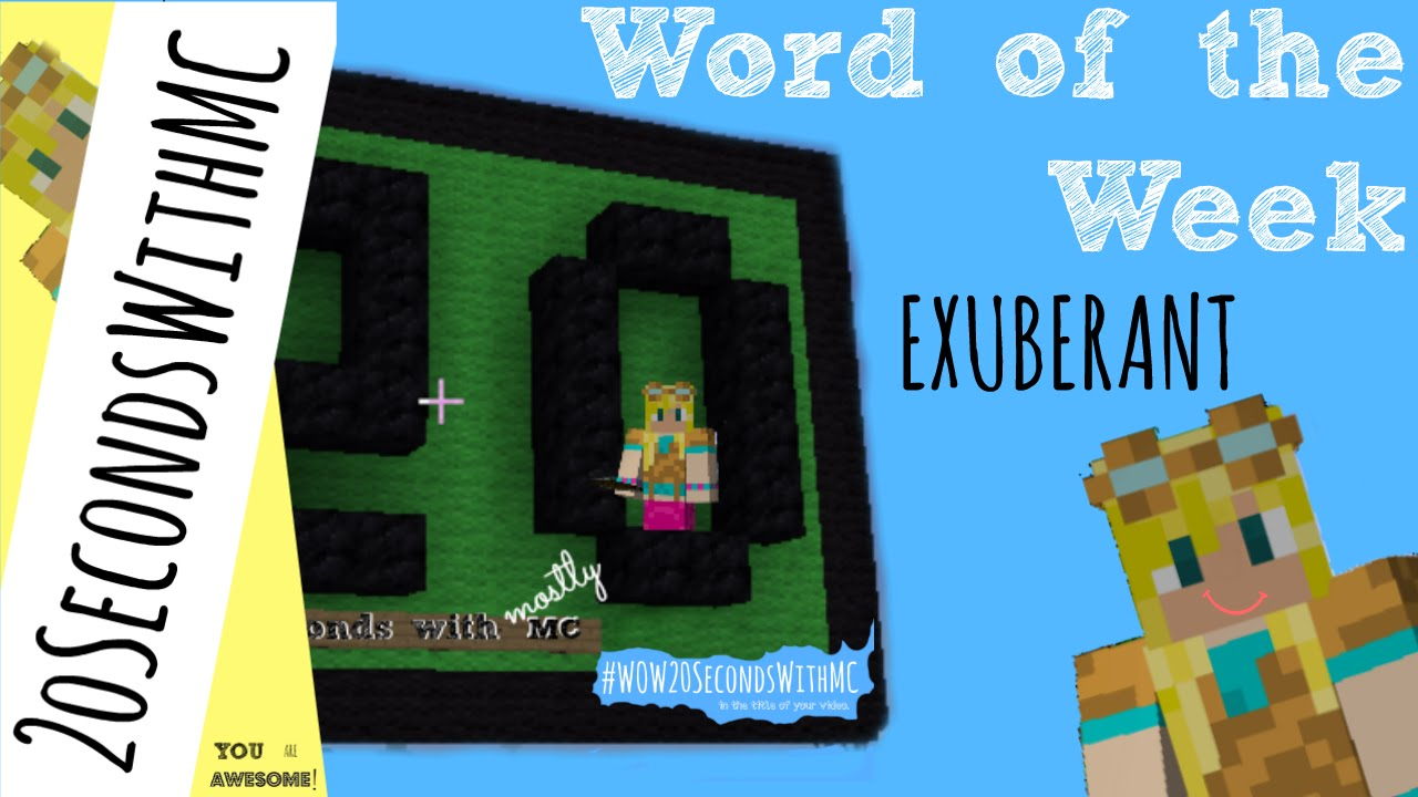 Exuberant Definition   Word Of The Week   Literacy With Minecraft   Ep.11    #WOW20SecondsWithMC