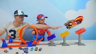 Машинки для детей Трек ХотВилс Рекордный Прыжок - Даник играет против Папы. Hot Wheels Super Score