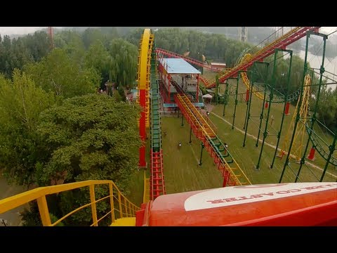 Chinese Looping Corkscrew Roller Coaster POV Sun Park Beijing China 翻滚过山车