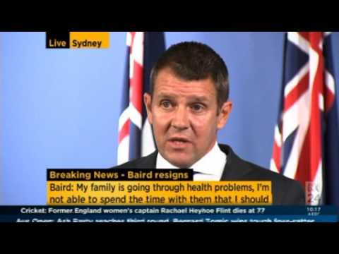 NSW Premier Mike Baird resignation press conference