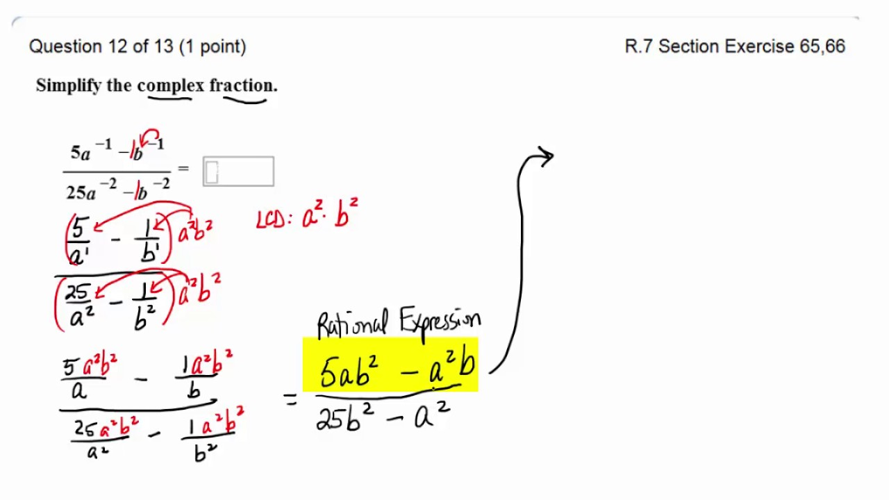 Simplify Complex Rational Expression with Negative Exponents - YouTube