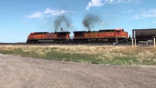 Trains at Great Falls and Shelby, Montana, July 2012