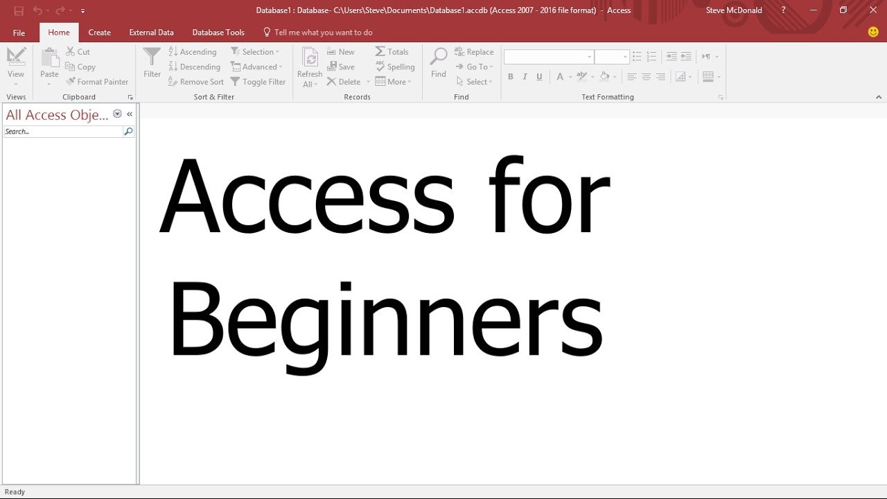 Microsoft Access Tutorial #1 - Tour of the Access Ribbon and Tool Bars for Beginners