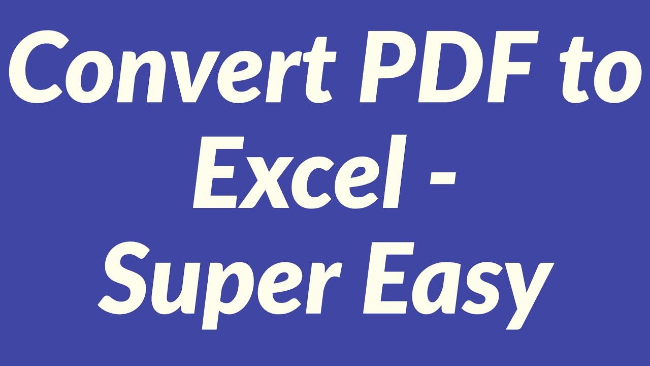 Convert pdf to Excel - YouTube