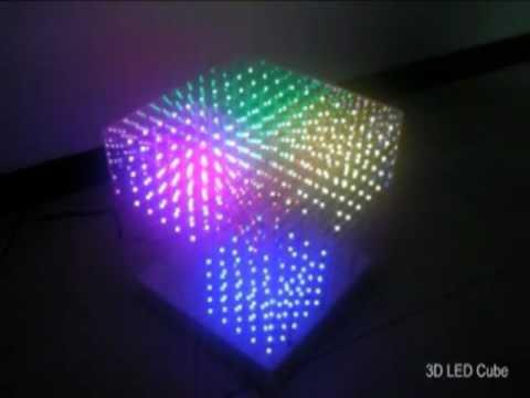 3d Led Rgb Cube 10x10x10 Youtube