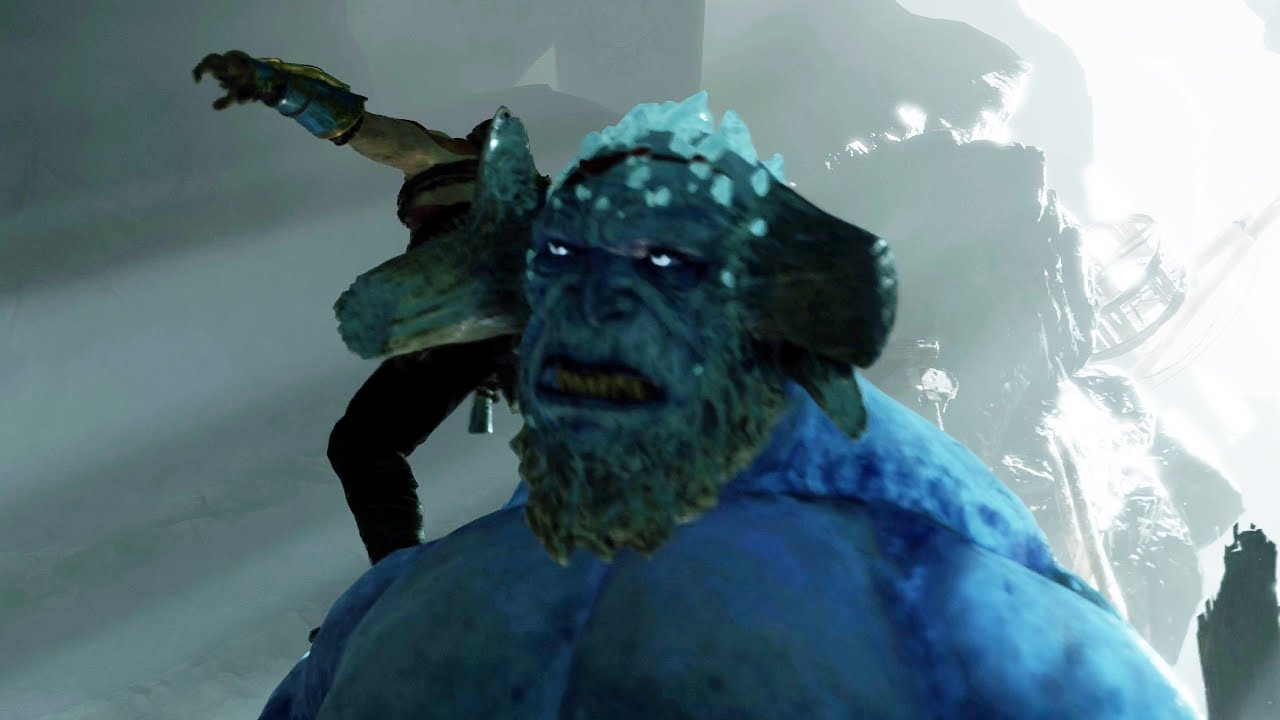 God of War PS4 - Ice Troll Boss Fight #7 (Give Me God of War Hard Difficulty) (4K)
