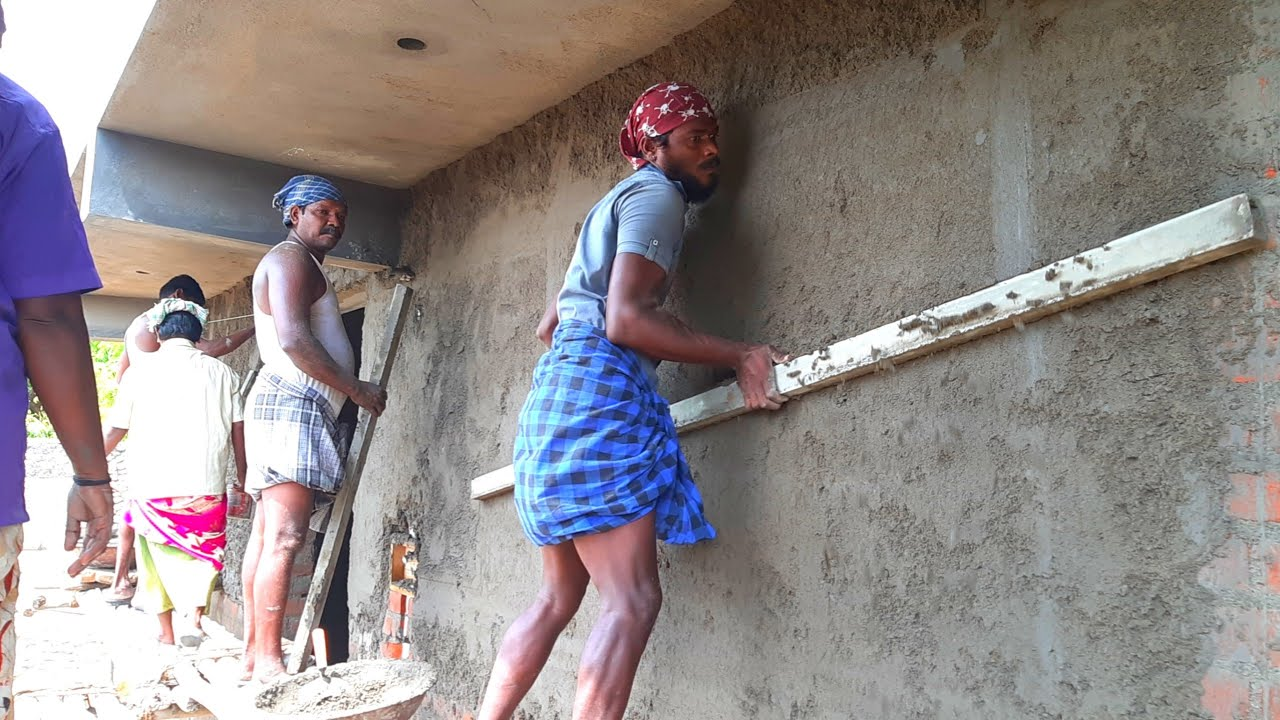 Amazing with 800 square feet building outer wall plastering work-using by sand and cement mixer