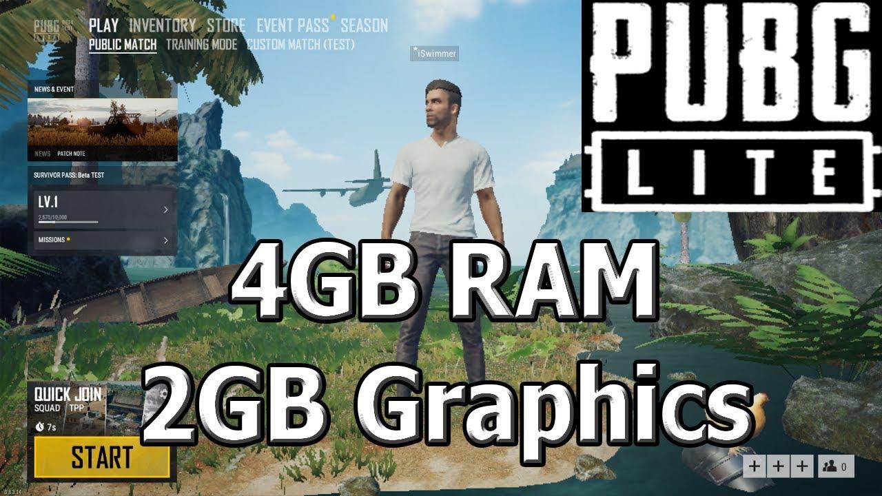 PUBG LITE PC : 4GB RAM + 2GB Graphics Card Performance Testing Gameplay