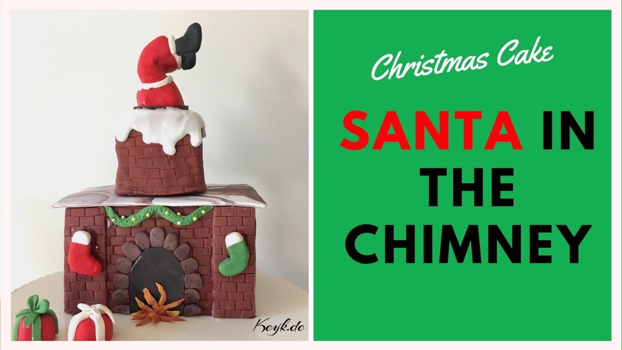 Weihnachts Kamin Kuchen Mit Weihnachtsmann Fondant Christmas