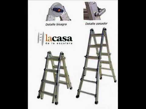 Escaleras en aluminio telescopicas profesionales youtube for Escaleras profesionales