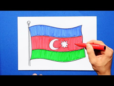 How to draw the National Flag of Azerbaijan