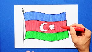 How to draw and color the National Flag of Azerbaijan
