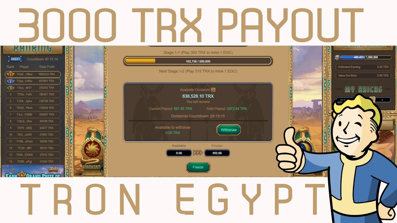 ★ 3000 TRX PAYOUT NEW TRON DAPP TRON EGYPT I'M ALL IN!!!!!
