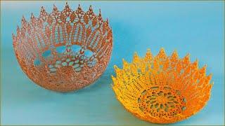 Ваза крючком. По схеме салфетки крючком. Салфетка крючком. Ч. 1 (Vase crochet. P. 1)