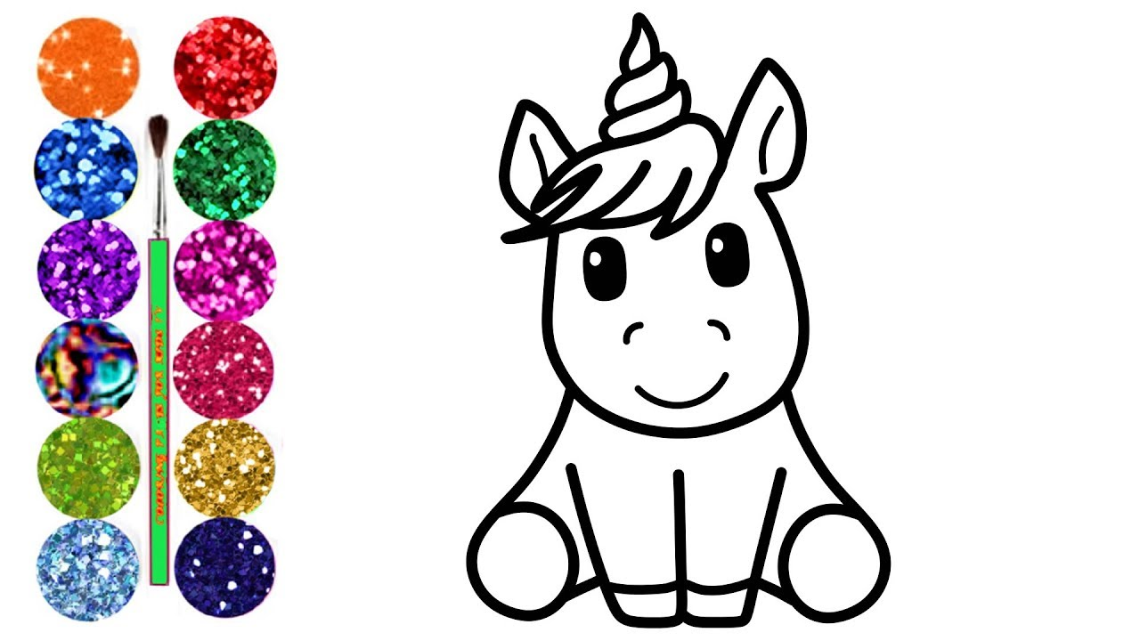 Glitter Unicorn Coloring pages & Drawing | Learn Colors ...