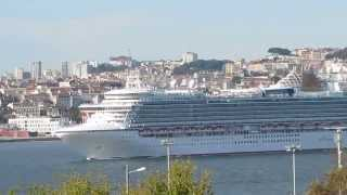 The MV Ventura and the MS Anthem of the Seas cruise ships in Lisbon