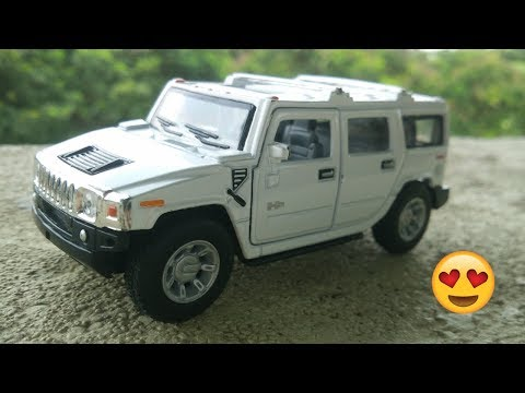 2008 Hummer H2 SUV White Pull Back Toy Review