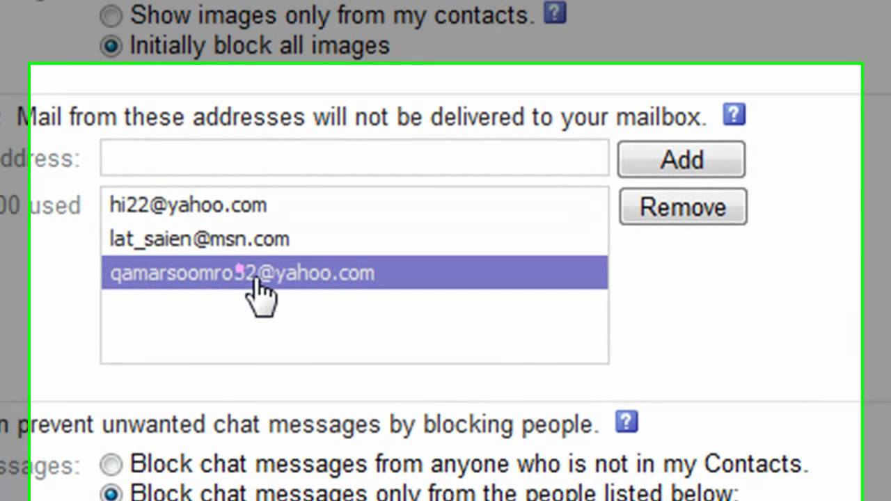 How to block email from my yahoo account