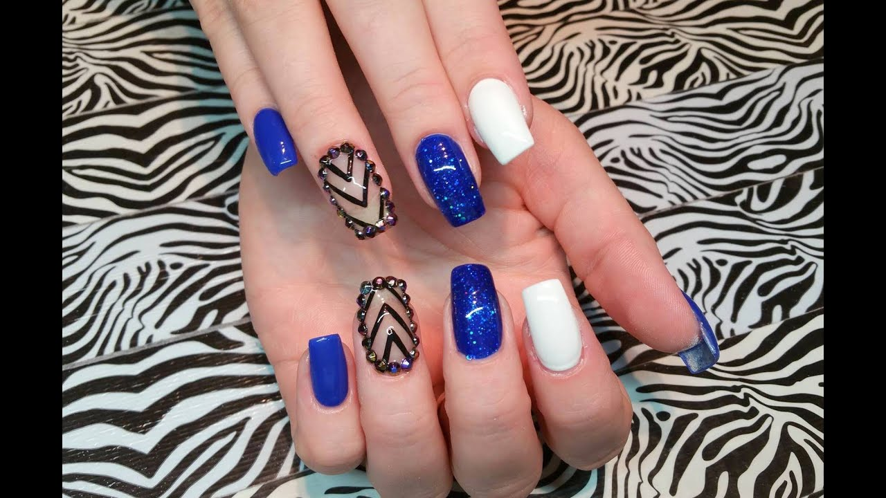 Acrylic Nail Infill L Blue Cute L Nail Design Youtube