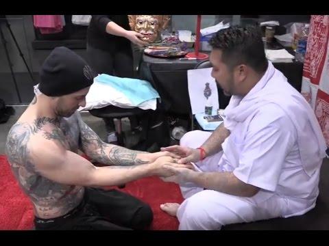 Nick Hawk Gets Sak Yant Poke Tattoo From Buddhist Master